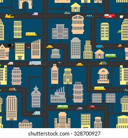 Night city pattern. Skyscrapers and transportation urban seamless background. Infrastructure, homes and cars. Texture of road, real estate and public and Business building. Cartoon map town evening.