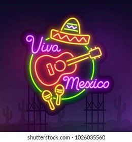 Night city sign neon. Cinco De Mayo. Realistic neon sign. Viva Mexico banner, logo, emblem and label. Bright signboard, light banner.  Vector illustration.