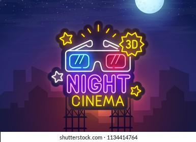 Night city. Sign neon. Night Cinema. Bright billboard.  Cinema 3D banner, logo, emblem and label. Bright signboard, light banner.  Vector illustration.
