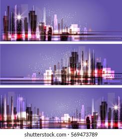 Night city skyline background, vector illustration