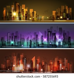 Night city skyline header set, vector illustration