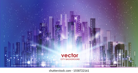 Night city skyline. Illustration with architecture, skyscrapers, megapolis, buildings, downtown.