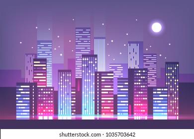 Night city skyline with neon lights. Modern city. Vector illustration.
