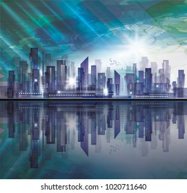 Night city skyline with reflection in water. Vector illustration.
