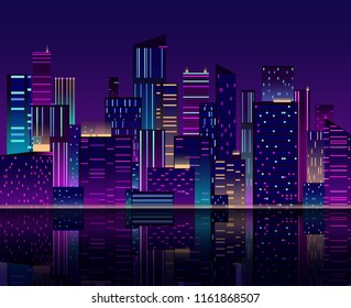 Night city skyline. Skyscraper with neon lights. Urban cityscape with buildings. 80s retro vector background. Panoramic city skyline, architecture cityscape scenery illustration