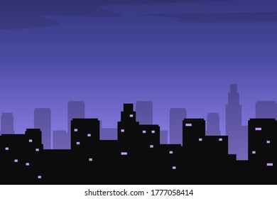 Night city skyline vector with buildings silhouette and dark sky suitable for illustration or background