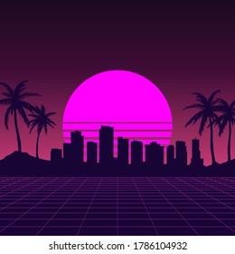 Night City Skyline Vector Retro Illustration