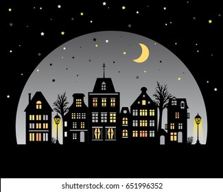 Night city skyline. View of Amsterdam houses. Stylized facades of buildings in old European style. Silhouette at twilight. Urban landscape. Flat vector illustration with typical dutch fashion.