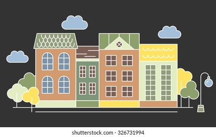 Night City. Street Houses. Line art vector illustration.