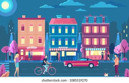 Night city street vector illustration. People night life