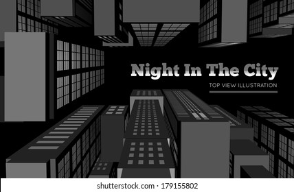 Night in the city. Top view vector illustration