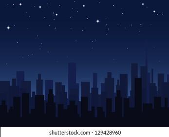 Night city vector illustration.