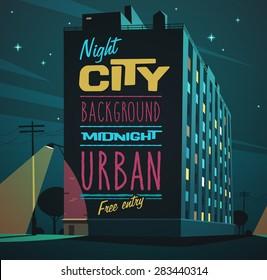 Night city. Vector illustration.