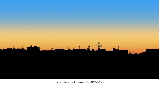 Night City. Vector illustration of apartment blocks in a town at evening.