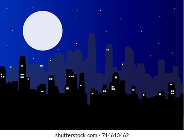 Night city vector illustration. Dark urban scape. Night cityscape in flat style. Night city skyline abstract background. Modern night city landscape.