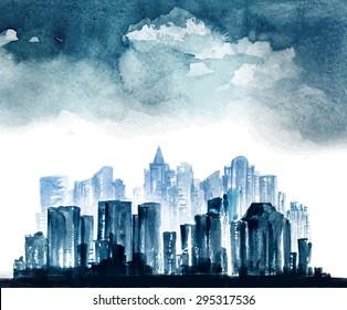 Night city vector watercolor drawing.