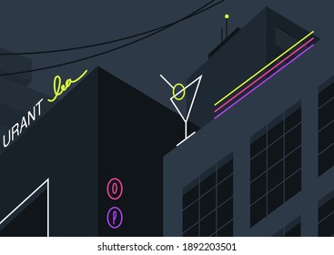 Night city view, neon signs on dark buildings, cafe, bars, and restaurants