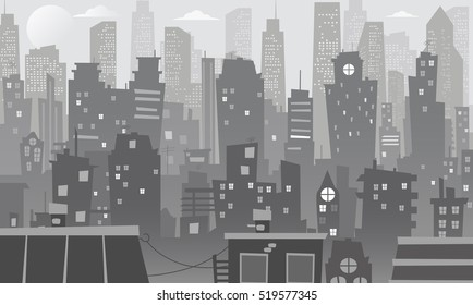 Night cityscape in cartoon style. Night city skyline abstract background. Urban landscape.
