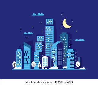 Night cityscape in flat style. Vector illustration