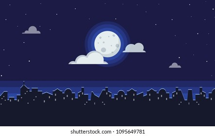 Night cityscape flat vector illustration of dark urban midnight panoramic view. Landscape background of bright moon in clouds with stars and city silhouette and copy space for text