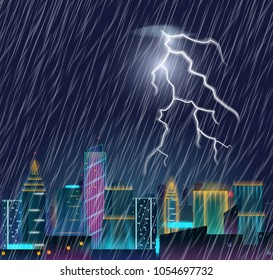 Night cityscape with lightning flash and heavy rain. Thunderstorm in the city. Urban landscape with thunder and lightning. Realistic vector illustration.
