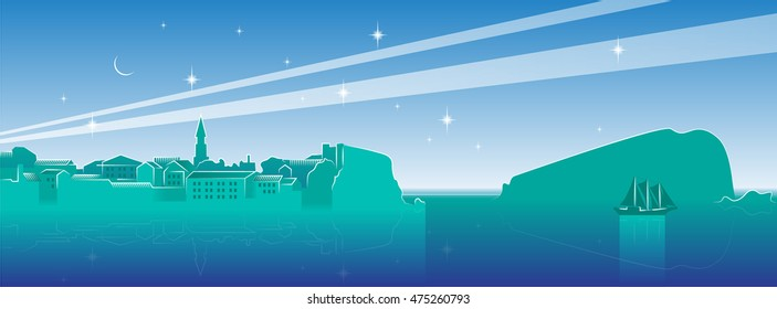 night cityscape of old town Budva (Montenegro) with island, yacht, moon and stars in turquoise color Adriatic sea coast