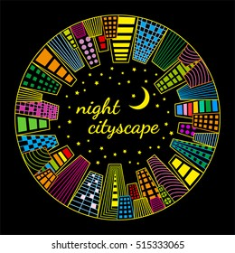 Night cityscape round vector template. Vector illustration of night cityscape in a circle with neon buildings, stars and moon.