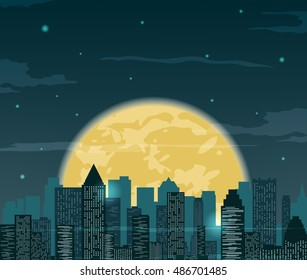 Night cityscape silhouettes with moon . Vector illustration.