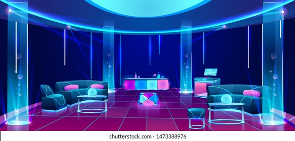 Night club or bar interior, empty dark lounging room with neon illumination, counter desk with drinks, dj mixer, furniture tables with soft couches, glowing plasma lamps. Cartoon vector illustration