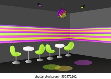 Night club disco interior table chair illustration vector