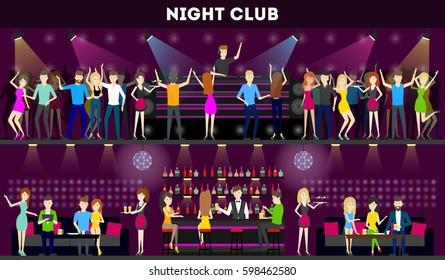 Night club interior set. Moder syle club with bar and dance hall. Dj plays music, people dance.