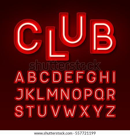 Night club neon font