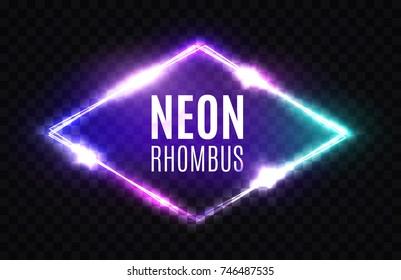 Night Club Neon Rhomb. 3d Retro Light Lozenge Sign. Techno Rhombus Background. Glowing Brill Frame On Transparent Backdrop. Electric Street Diamond. Vector Illustration in 80s Style.