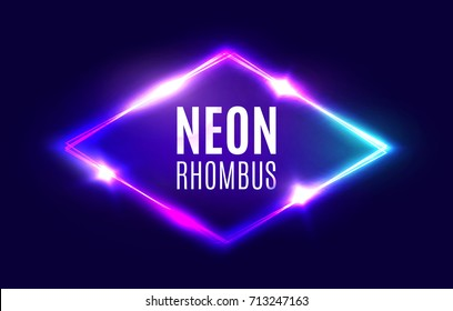 Night Club Neon Rhomb. Retro Light Lozenge Sign With Neon Effect. Techno Rhombus Background. Glowing Brill Frame On Dark Blue Backdrop. Electric Street Diamond. Vector Illustration in 80s Style.