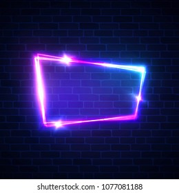 Night club neon sign on brick wall background. Blank 3d retro frame with shining neon lights. Disco show advertising street banner with glowing on brick texture. Color vector illustration in 80s style