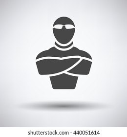 Night club security icon on gray background, round shadow. Vector illustration.