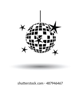 Night clubs disco sphere icon. White background with shadow design. Vector illustration.
