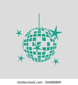 Night clubs disco sphere icon. Gray background with green. Vector illustration.
