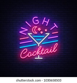 Night Cocktail is a neon sign. Cocktail Logo, Neon Style, Light Banner, Night Bright Neon Advertising for Cocktail Bar, Party, Pub. Alcohol. Vector illustration
