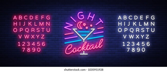 Night Cocktail is a neon sign. Cocktail Logo, Neon Style, Light Banner, Night Bright Neon Advertising for Cocktail Bar, Party, Pub. Alcohol. Vector illustration. Editing text neon sign