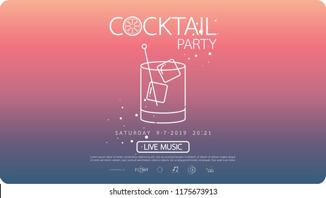 Night cocktail party poster template. cocktail party invitation poster. Poster design with cocktail glass on gradient background.