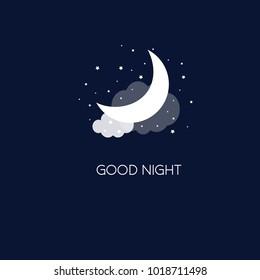 Night concept logo. Good night. Vector illustration EPS 10