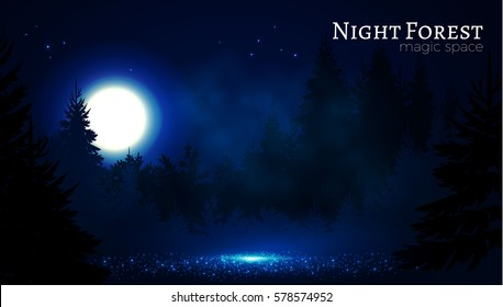 Night Coniferous Forest. Magic Woods. Moonlight and Fog. Nature, Mystery and Fairy Tale Space. Vector illustration