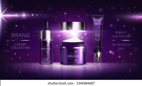Night cosmetic series for face skin care, realistic vector. Plastic cream jar and serum, tube with eye gel. Cosmetics on purple shining background with light flashes, stars Mock Up for glossy magazine