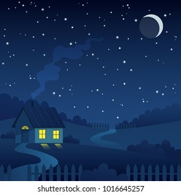 Night country farm landscape with house under the crescent moon and stars vector illustration.