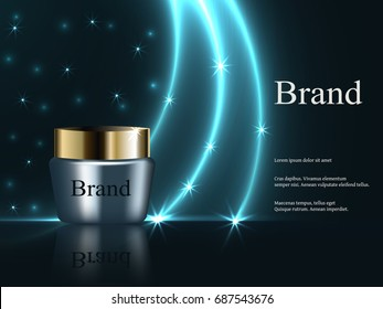 night cream for the face is dark blue with gold cap a dark background with bright stars advertising cosmetics, design, banner, EPS 10, vector 3D, realistic