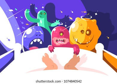 Night cute monsters bother sleeping in bed. Colored characters, vector illustration