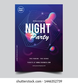 Night dance disco party music night poster template.