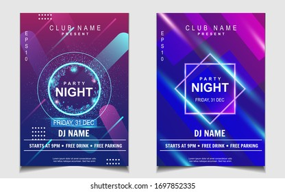 Night dance party music layout design template background with dynamic gradient style. Colorful electro style vector for concert disco, club party, event flyer invitation, cover festival poster