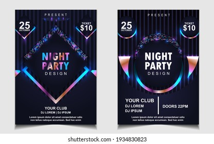 Night dance party music layout cover design template background with colorful dark blue glitters style. Light electro vector for music event concert disco, club invitation, festival poster, flyer